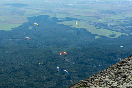 Tatranska Lomnica, Slovakia - September 15, 2020: Paragliding is the recreational and competitive adventure sport.
