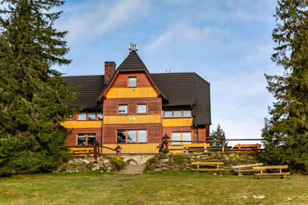 Zlatna, Poland - October 27, 2020: Mountain hut PTTK (Polish Tourist and Sightseeing Society) at Hala Rysianka, in the Zywiec Beskids.