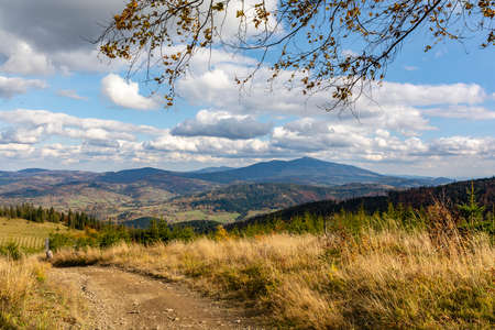 Fabulous autumn landscape in the mountains (Zywiec Beskids). Among the visible peak, you can see the Babia Gora peak (Babia hora).