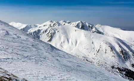 Mountain landscape in winter scenery on a beautiful sunny day. Western Tatras.