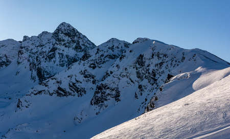 Beautiful winter landscape of mountains in Poland. Tatra Mountains.