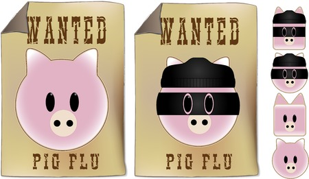 Swine Flu Wanted Sign with set of pig faces. Stock Vector - 4773197