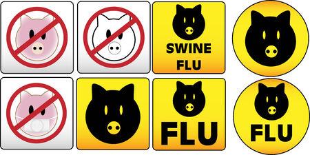 Swine Flu Traffic and dangerous Sign Stock Vector - 4773194