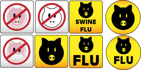 epidemic: Swine Flu Traffic and dangerous Sign Illustration