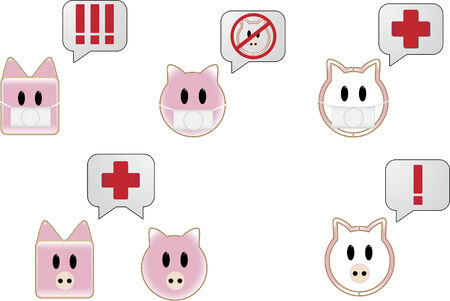 epidemy: Swine flu with bubbles showing different attention symbols