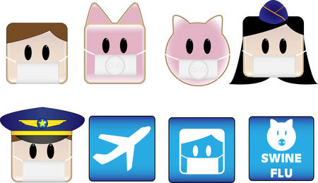 epidemy: Icons illustrating swine flu patients and animals in airports