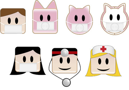 epidemy: Icons illustrating swine flu patients and animals Illustration