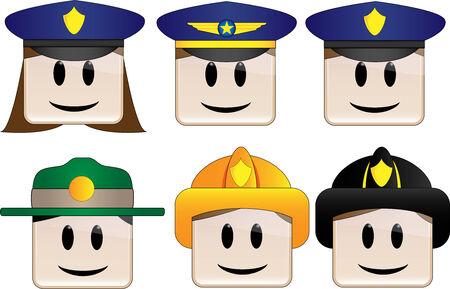 ranger: Polizia, Ufficio Firefighter, Park Ranger Vettoriali