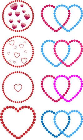 lesbian: Hearts fait avec des points. Straight, les homosexuels et les couples de lesbiennes