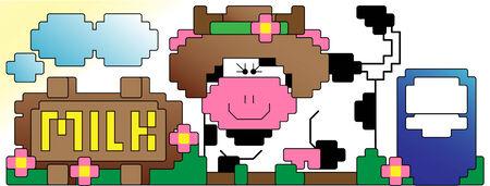 got: Cow and Milk Pixel Art