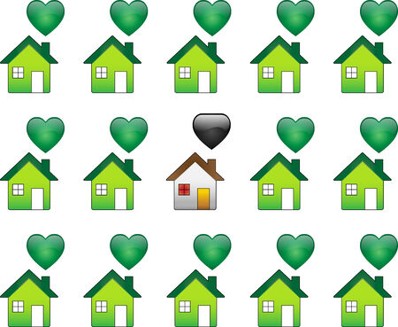 Ecological Houses and regular polutant houses Stock Vector - 4773211