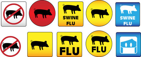Swine Flu Signs of Danger and Attention Stock Vector - 4773229