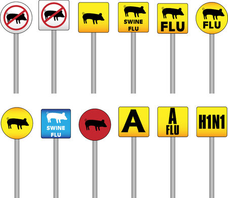 epidemy: Swine Flu Signs of Danger and Attention with the new H1N1 Influenza A name Illustration