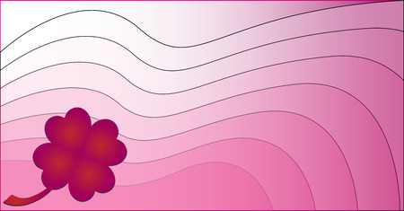 Wavy pink background with a clover made of hearts Vector