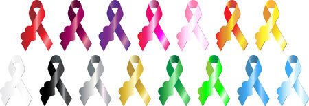 hiv awareness: Conjunto de 15 cintas de colores aspecto metalique con el coraz�n.