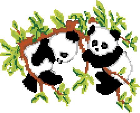 Pandas on Tree Pixel Art