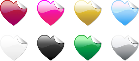Set of 8 colored hearts stickers, no transparencies, totally editable Vector