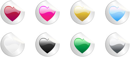Set of 8 round colored hearts stickers, no transparencies Stock Vector - 4773252