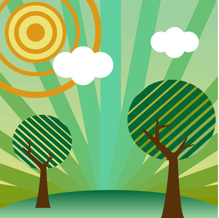 Retro style landscape with tree, sun and clouds. Editable vector Vector