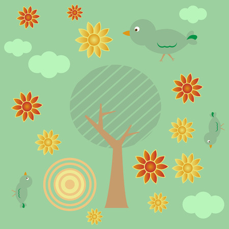 Retro style background with tree, sun, clouds, flowers and birds Vector