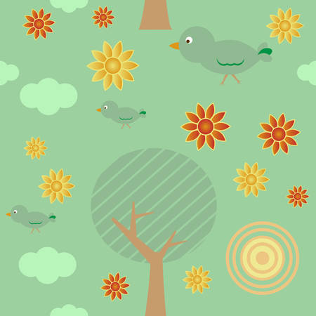 Retro style seamless background with tree, sun, clouds, flowers and birds Vector