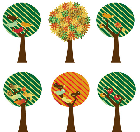 Set of 6 retro trees with flowers, birds and fruits Vector