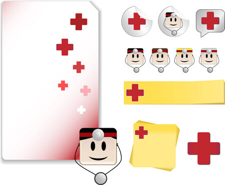 Set of Doctor Day Celebration Day with note, sticker, adhesive, and icons Vector