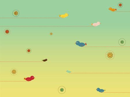 migraci�n: Estilo retro con la migraci�n de aves del cielo atasco