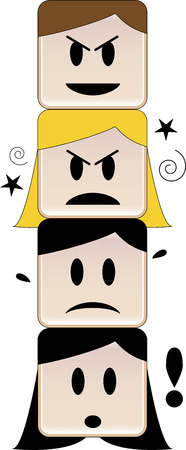 Heads on top of each other expressing different feelings under a mean face Vector