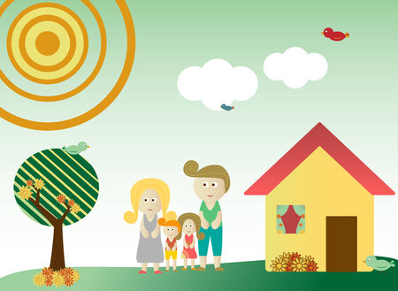 Retro style family in a background with tree, sun, clouds, flowers and birds Vector