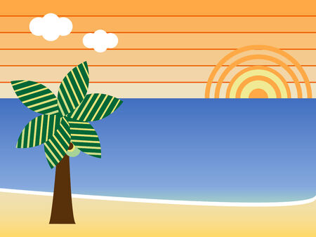 Retro Beach Sunset Landscape with palm tree Stock Vector - 4809389