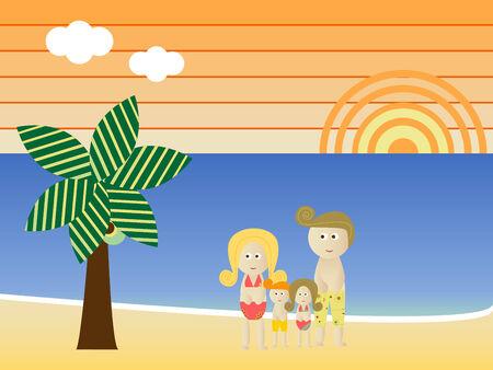 Retro Beach Sunset Landscape Family Vacation Stock Vector - 4809395