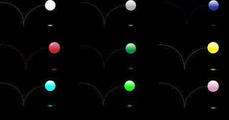 9 ball: 9 Glossy ball bouncing and reflecting