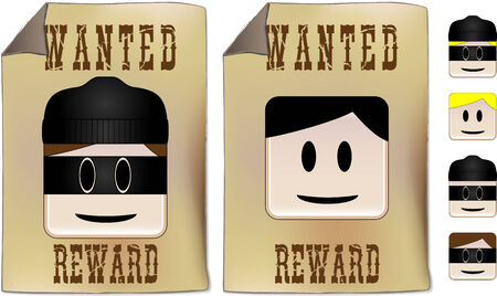 Wanted sign with alternative faces to be used as you prefer Vector