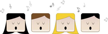 4 personas cantando en coro con la música toma nota de Ilustración de vector