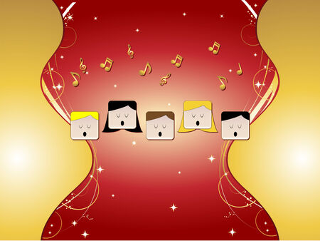 religious music: 5 people in choir singing with music notes, stars, golden ornaments