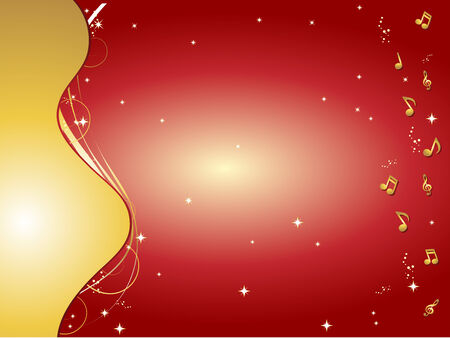 Red and gold background with music notes and ornaments