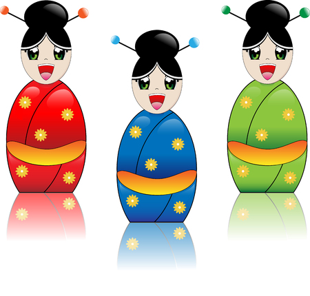 Japanse manga stijl meisje lacht met kimono, in de kleuren rood, blauw en groen