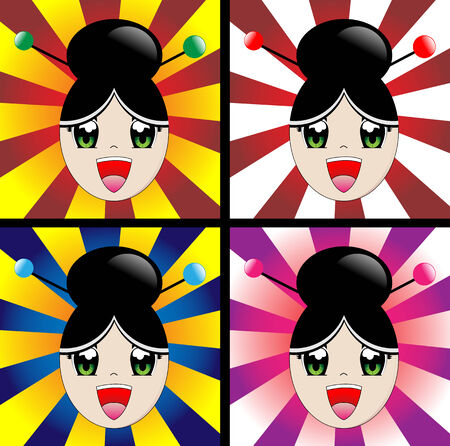 Japanese manga style girl laughing Vector