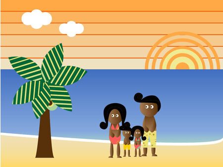 Retro Beach Sunset Landscape African American Family Vacation Vector