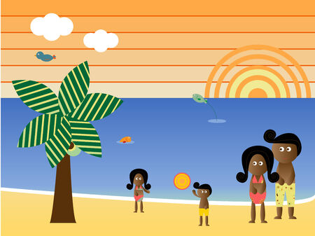 african american family: Retro Beach Sunset Landscape African American Family Vacation