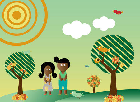 Retro style african american couple in a background with tree, sun, clouds, flowers and birds Vector