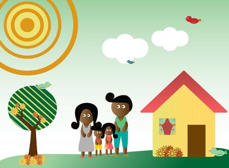 family grass: Estilo retro familia en un fondo con �rboles, sol, nubes, flores y aves