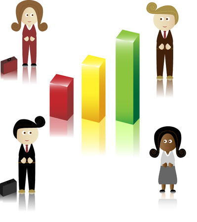 Business Men and Women with briefcase and chart Vector