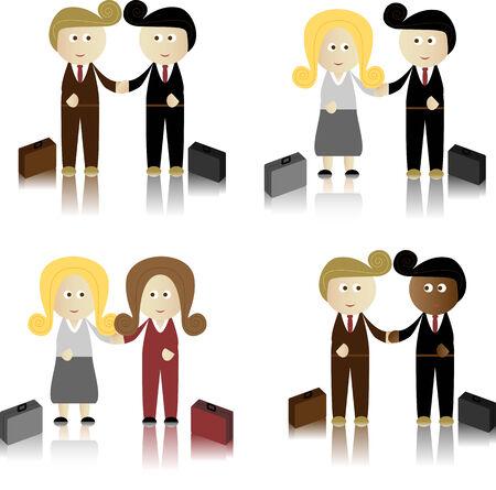 Business Men and Women shaking hands Vector