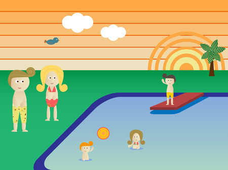 Retro Swimming Pool  Landscape Family Vacation Stock Vector - 4890511