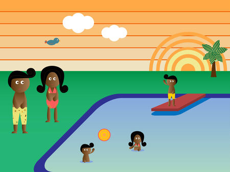 Retro Swimming Pool  Landscape African American Family Vacation Vector