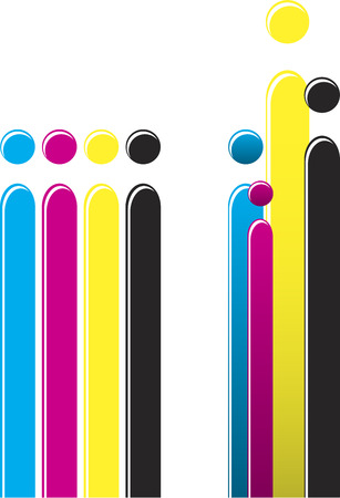 different ways: Bars of CMYK colors organized in two different ways