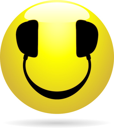Glossy Smiley icon with headphones in place of eyes and mouth