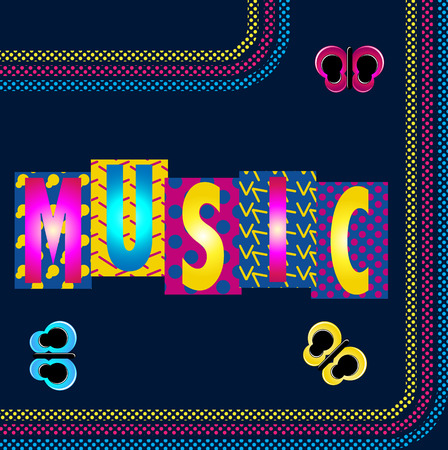 Music Funky Retro Image with Caption and Stripes Vector